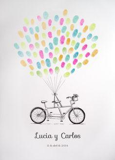 Tandem para libro de firmas con huellas http://losdetallesdetuboda.com/complementos-de-boda/libros-de-firmas/tandem-recien-casados-1136