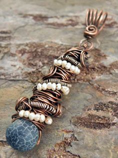**EASY** copper wire wrapping, bail and pearls.  I would like to do earrings like this.