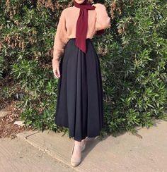 Idea for me Modest Fashion Hijab, Modern Hijab Fashion, Casual Hijab Outfit, Hijab Fashion Inspiration, Hijab Chic, Abaya Fashion, Muslim Fashion, Skirt Fashion, Fashion Outfits