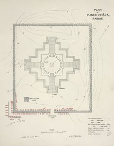 Plan of Rawak stupa drawn by Stein, showing staircases and boundary wall. Ancient Khotan, Vol. 2, Plan XL.