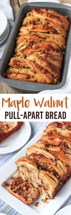 This Maple Walnut Pull-Apart Bread is made with a simple homemade yeast dough and bursting with toasted walnut pieces covered in maple syrup. This recipe uses coconut oil and almond milk to keep it dairy-free, and is sweetened only with maple syrup! Best Maple Syrup, Maple Syrup Recipes, Walnut Recipes, No Dairy Recipes, Fall Recipes, Baking Recipes, Baking Desserts, Health Desserts, Dip Recipes
