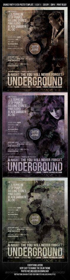 Underground Grunge Night Club Event Flyer / Poster