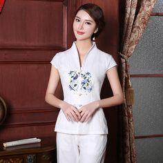 Charming Open Neck Frog Button Short Chinese Tang Shirt - Chinese Shirts & Blouses - Women