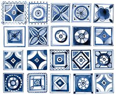 Margaret Berg : dots / stripes / geometric: Navy & White Geometric Tiles