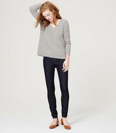 LOFT Tall Modern High Waist Skinny Ankle Jeans in Dark Rinse Wash