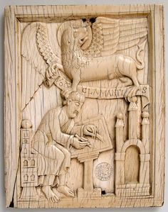 Eleventh-century German ivory showing the Evangelist St Mark writing the Gospel with his symbol, the lion, holding a scroll. (Metropolitan Museum of Art)
