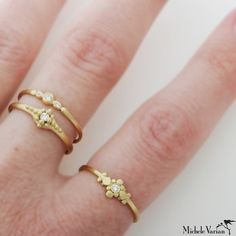 Stacked Gold Three Diamond Ring at MicheleVarian.com