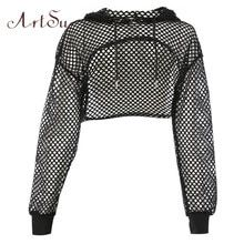ArtSu Long Sleeve Tshirt Women Mesh Top Hooded Hollow Out Sexy Punk Rock Short Crop Top White T shirt Fishnet Black купить на AliExpress Crop Top And Shorts, Crop Top Outfits, Edgy Outfits, Teen Fashion Outfits, Mode Outfits, Cute Casual Outfits, Cropped Shirt, Couple Outfits, Cropped Top