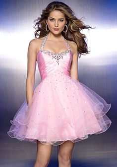 Ball Gown Tulle Halter Empire Short/Mini Length Backless Sleeveless Beading Sequins Prom Dress picture 1