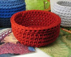 Crochet bowl made from recycled t-shirt yarn (no instructions, for sale on the site).  Love this idea...