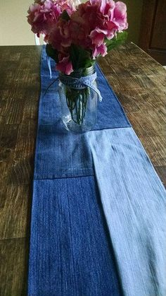 Denim Table Runner Jean Wedding Decor Repurposed Jeans