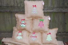Applique Monogrammed  Burlap Christmas Pillows by TheCherryTree123