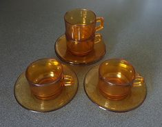 Vintage Vereco France cups and saucers (4), amber glass, retro 70s kitchenware #vintageglassware