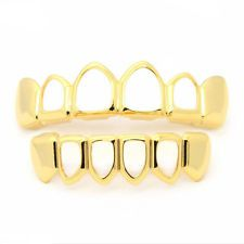 HipHop Unsex Grills Grillz Bottom Lower Open Face Fangs Gold Plated Teeth Gold