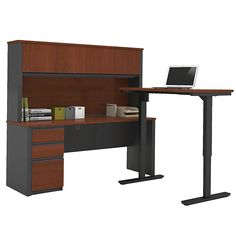 Demco.com -Bestar L-desk and Hutch W/Electirc Sit/Stand Table