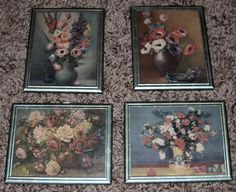 Set of 4 Vintage Picture Frames - Flowers - Shabby Chic by Luv2Junk on Etsy