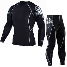 Mens Compression T Shirt Set Wolf Print Tight Long Sleeves Crossfit Shirts Leggings Joggers MMA Workout Fitness Sportswear Mens Compression Pants, Compression Clothing, Outfits Hombre, Sport Outfits, Shorts Mma, Lange T-shirts, Tight Suit, Skin Tight, Pantalon Costume