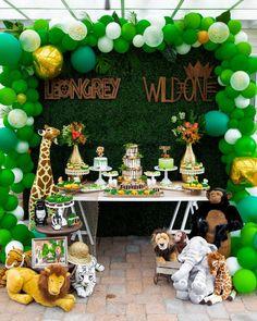 Safari Party Table from a Safari Wild ONE Birthday Party Safari Party, Safari Theme Birthday, Boys First Birthday Party Ideas, Wild One Birthday Party, Birthday Themes For Boys, Safari Birthday Party, 1st Boy Birthday, Boy Birthday Parties, Sixteenth Birthday
