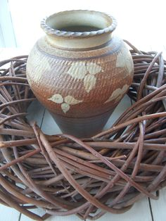 Handmade Vintage Art Pottery Vase Brown with Leaf Pattern by lookonmytreasures on Etsy