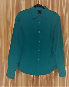 Silk. Turquoise-blue Large L dressy blouse long sleeve washable Anne Carson #AnneCarson #ButtonDownShirt #Career