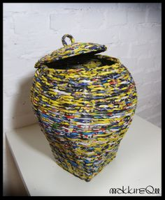basket made of newspaper
