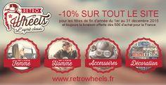La boutique en ligne de Retro Wheels, spécialisée dans la vente de vêtements en prêt à porter pour homme et femme, d'accessoires et d'objets décoratifs dans l'univers du rétro, vient de lancer ses remises exceptionnelles pour les fêtes de fin d'année 2015 : http://blog.evolutiveweb.com/articles/remises-fetes-fin-d-annee-chez-retro-wheels-64.html   Rendez-vous dès maintenant sur http://www.retrowheels.fr  !