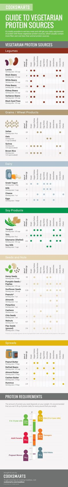 Get your daily requirement of protein with a variety of vegetarian protein sources, which usually contain more fiber and cost less than animal protein sources. #infographic #meatless #vegetarian via @cooksmarts #nutritionplanvegetarian