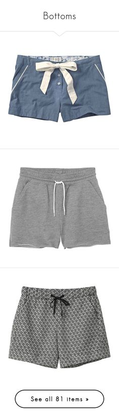 """Bottoms"" by grimoirenocturne ❤ liked on Polyvore featuring shorts, bottoms, pants, pajamas, blue, fat face, short, grey cloud melange, short shorts and monki"