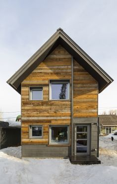 This small 2 bedroom house in Steamboat Springs, Colorado combines modern design and a super-insulated building envelope with a traditional appearance. Designed and built by WorkshopL. https://www.facebook.com/SmallHouseBliss