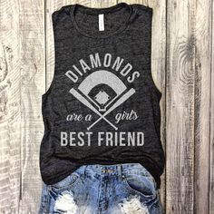 DIAMONDS Are A Girl's Best Friend, Baseball Muscle Tee in Charcoal/White Workout Top, Muscle Tank, Baseball Mom,Hit and Steal,Baseball Shirt by everfitte on Etsy