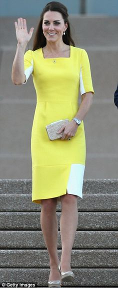 Sunshine: She chose a yellow £900 dress, which mirrored the gold of the Australian national colours and was created by Roksanda Ilincic for her arrival in Sydney