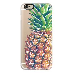 iPhone 6 Plus/6/5/5s/5c Case - Extra Large Watercolor Pinapple (£27) ❤ liked on Polyvore featuring accessories, tech accessories, iphone case, iphone cover case, apple iphone cases and slim iphone case