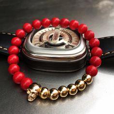 New Design 8MM Red Coral Natural Agate Stone Bracelets Skull Charm Bracelets For Men Jewelry Gift Strand Bracelets