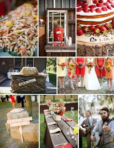 A red and orange crab boil inspiration board