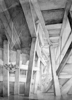 Architect Herzog & de Meuron, Beijing National Stadium, Beijing, drawing by Klara Ostaniewicz Beijing National Stadium, Abstract Pencil Drawings, Peking, Architecture Concept Drawings, Classical Architecture, Building Sketch, Interior Design Sketches, Perspective Drawing, 3d Max