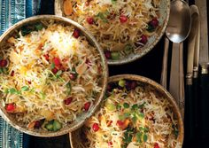 The bright hues of saffron rice, green onions, and pomegranate seeds give this dish its name. Cooking the rice like pasta —in a large pot of boiling, salted Side Dish Recipes, Rice Recipes, Vegetable Recipes, Cooking Recipes, Cooking Time, Recipies, Vegetarian Times, Vegetarian Recipes, Healthy Recipes