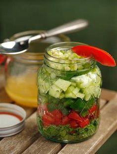 13 salads in a jar  Gazpacho Salad Healthy Layered Salads
