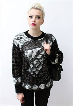 Vintage 80's black white monochrome jumper aztec // This is a unique vintage, hand picked item by Pretty Disturbia which is right on trend!  FABRIC -Acrylic/ cotton with mohair and metallic fibres.  .It really is stunning and unusual with knitted aztec design - it is perfect for Christmas!  DETAILS- It is high quality and unusual. It is classic  STYLING- This is perfect for a night out with heels and skinny jeans or in the day with boots and a denim jacket, it goes with any outfit.  SIZE… Aztec Designs, Jumpers For Women, Unique Vintage, Monochrome, Night Out, Knitwear, Men Sweater, Metallic, Skinny Jeans
