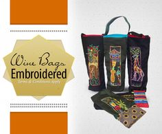 Beautiful wine bags Wine Bags, Embroidered Bag, How To Apply, Gifts, Handmade, Beautiful, Presents, Hand Made, Embroidery Bags