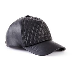 GUESS Quilted Faux-Leather Baseball Cap ($29) ❤ liked on Polyvore featuring accessories, hats, black, faux leather baseball cap, black hat, black baseball cap, baseball hats and black baseball hat