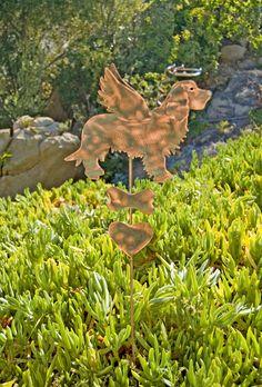 Golden Retriever Memorial Metal Garden Art Stake, Pet Grave Marker, Copper Garden Art, Metal Yard Art, Garden Sculpture, Outdoor Metal Art by GardenCopperArt on Etsy