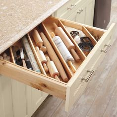 Ditch the disorganized kitchen drawer and you'll be surprised how much extra storage you can create!
