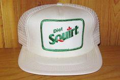 2e14cb8a34e Diet SQUIRT Soda Pop Classic Vintage 80s Original White Mesh Trucker Snapback  Hat One Size Soft Drink Beverage Promo USA made Cap NOS Pepsi