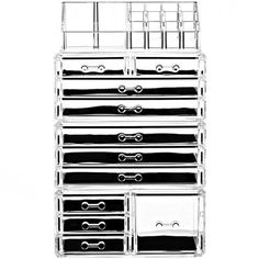 a2e52c79c9d8 Cq acrylic Large 9 Tier Clear Acrylic Cosmetic Makeup Storage Cube ...