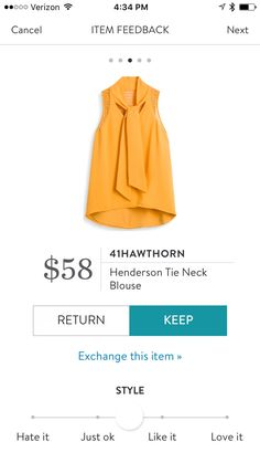 41 Hawthorn Henderson Tie Neck Blouse - Mustard Yellow - Stitch Fix