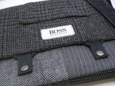 Cross Body Messenger Bag, iPad Case, Eco Friendly Recycled Suit Coat. $90.00, via Etsy.