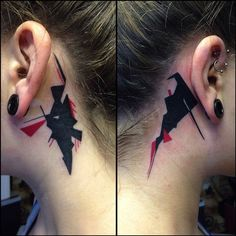 http://tattooideas247.com/abstract-ears/ Abstract Behind The Ear Tattoos #Abstract, #Art, #BehindEars, #BlackInk, #Ear, #ModernArt, #RyanTheScientistSmith