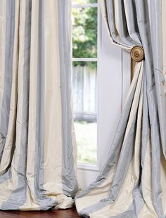 Discover more than a dozen color options in faux silk taffeta curtains. Choose from two-color stripes to multi-colored stripes. Striped Curtains, Curtains With Blinds, Panel Curtains, Grey Curtains, Drapery Panels, Valances, Silk Drapes, Silk Taffeta, Silk Fabric