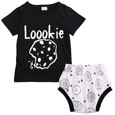 TheFound Baby Boy Cute 2 Piece Infant Girl Summer Outfits Short Sleeve Tee Top Training Pants Loookie Print 1218M -- Find out more about the great product at the image link.Note:It is affiliate link to Amazon.