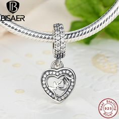 Romantic 925 Sterling Silver MOM SILVER DANGLE WITH CUBIC ZIRCONIA Heart Pendant Charm Fit BIS Charm Bracelet GOS017